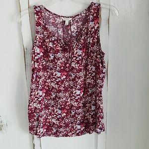 Floral tank top sleeveless dress blouse